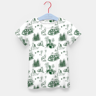 Miniatur Eurasian Wolf Toile Pattern (Dark Green and White) Kid's t-shirt, Live Heroes
