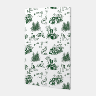 Miniatur Eurasian Wolf Toile Pattern (Dark Green and White) Canvas, Live Heroes