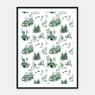 Miniatur Eurasian Wolf Toile Pattern (Dark Green and White) Framed poster, Live Heroes