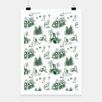 Miniatur Eurasian Wolf Toile Pattern (Dark Green and White) Poster, Live Heroes