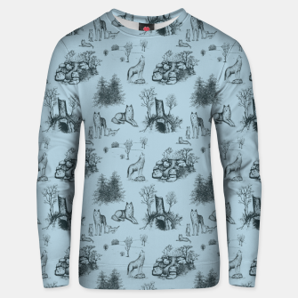 Eurasian Wolf Toile Pattern (Blue-Grey) Unisex sweater thumbnail image