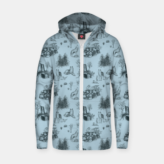 Eurasian Wolf Toile Pattern (Blue-Grey) Zip up hoodie thumbnail image