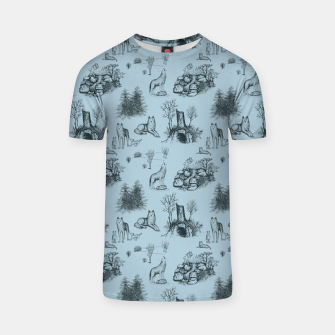 Eurasian Wolf Toile Pattern (Blue-Grey) T-shirt thumbnail image