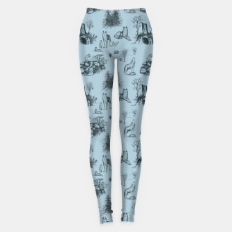 Eurasian Wolf Toile Pattern (Blue-Grey) Leggings thumbnail image