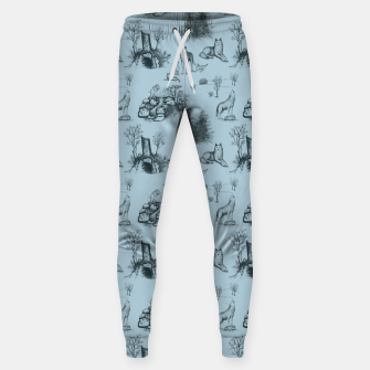 Eurasian Wolf Toile Pattern (Blue-Grey) Sweatpants thumbnail image