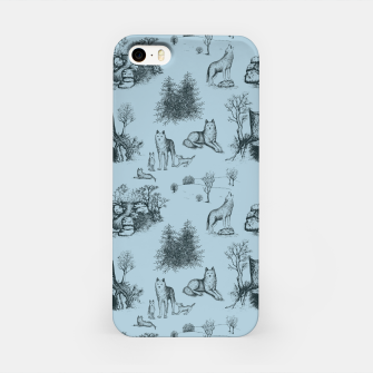 Eurasian Wolf Toile Pattern (Blue-Grey) iPhone Case thumbnail image