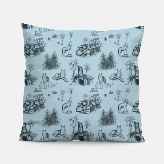 Eurasian Wolf Toile Pattern (Blue-Grey) Pillow thumbnail image