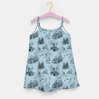 Eurasian Wolf Toile Pattern (Blue-Grey) Girl's dress thumbnail image