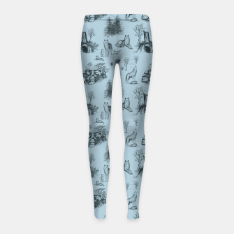 Eurasian Wolf Toile Pattern (Blue-Grey) Girl's leggings thumbnail image