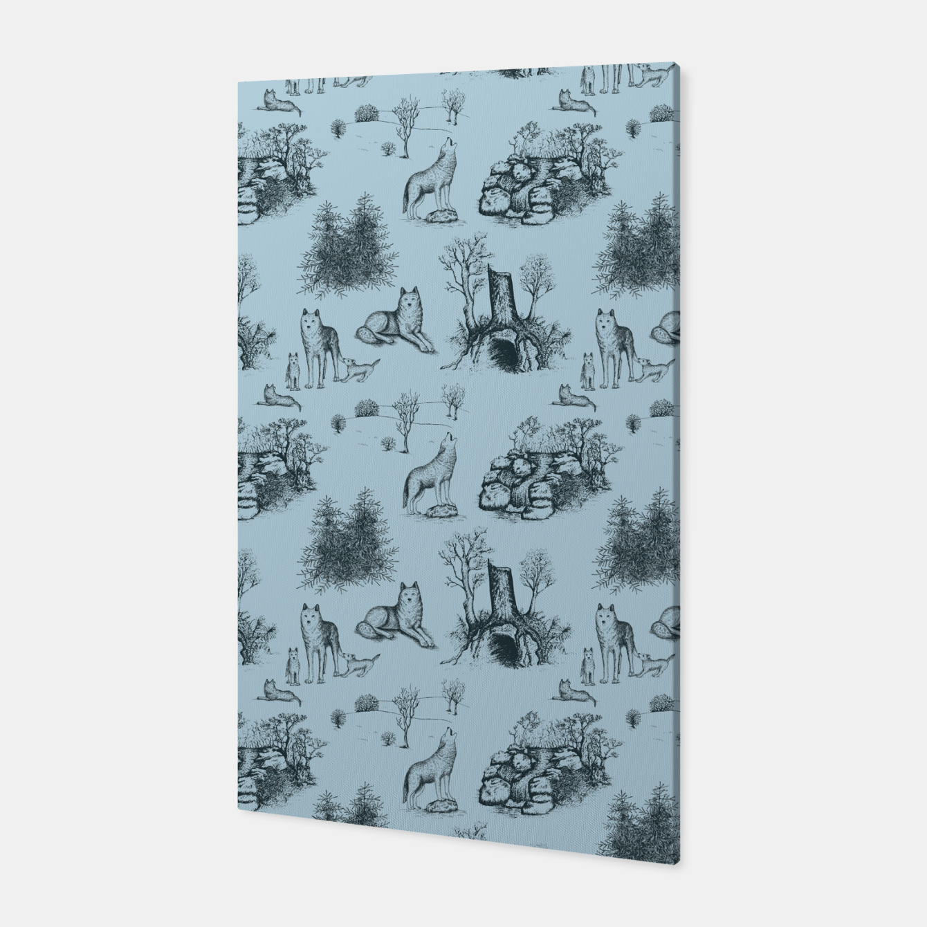 Image of Eurasian Wolf Toile Pattern (Blue-Grey) Canvas - Live Heroes