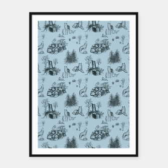 Thumbnail image of Eurasian Wolf Toile Pattern (Blue-Grey) Framed poster, Live Heroes