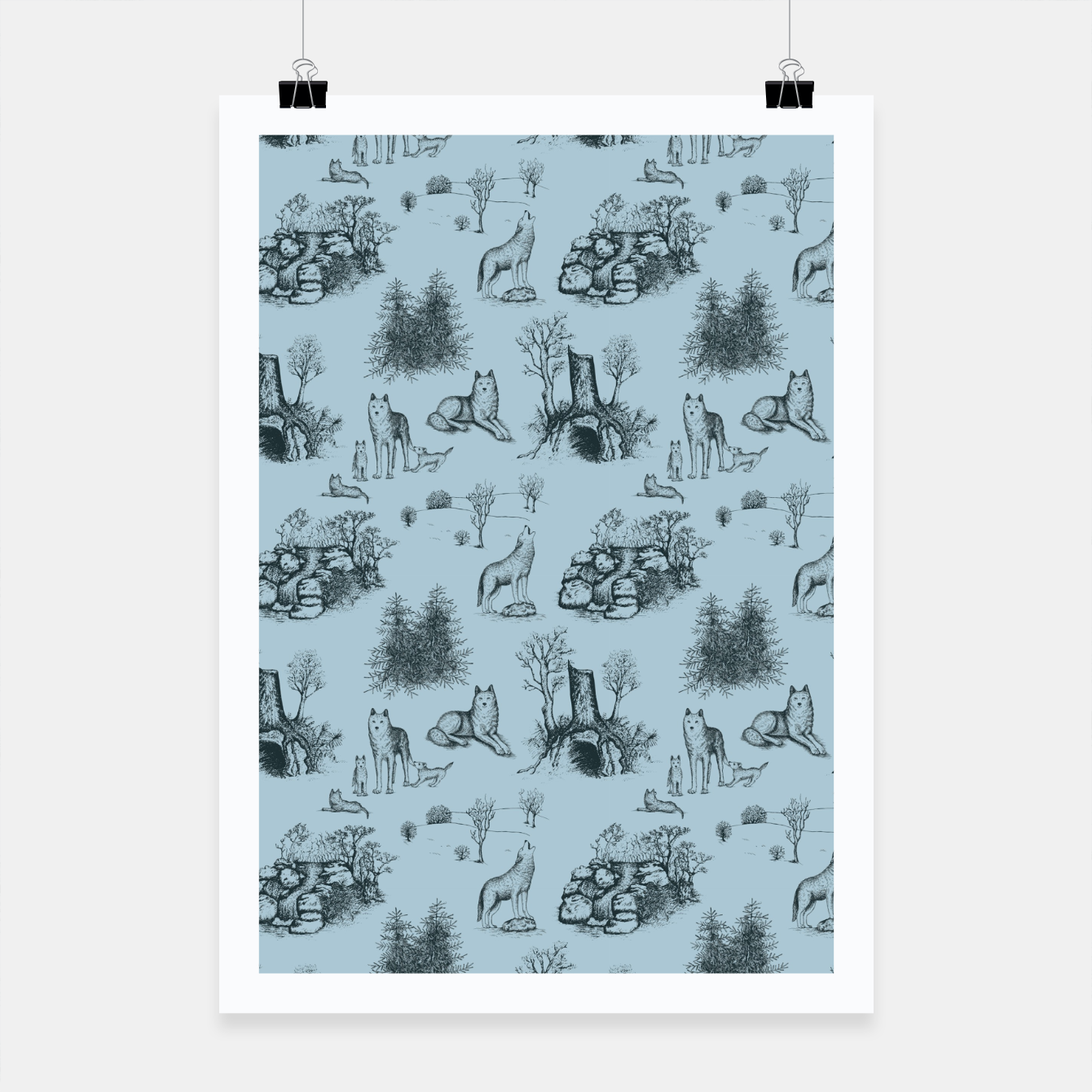 Image of Eurasian Wolf Toile Pattern (Blue-Grey) Poster - Live Heroes