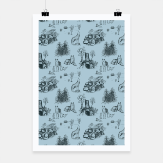 Thumbnail image of Eurasian Wolf Toile Pattern (Blue-Grey) Poster, Live Heroes