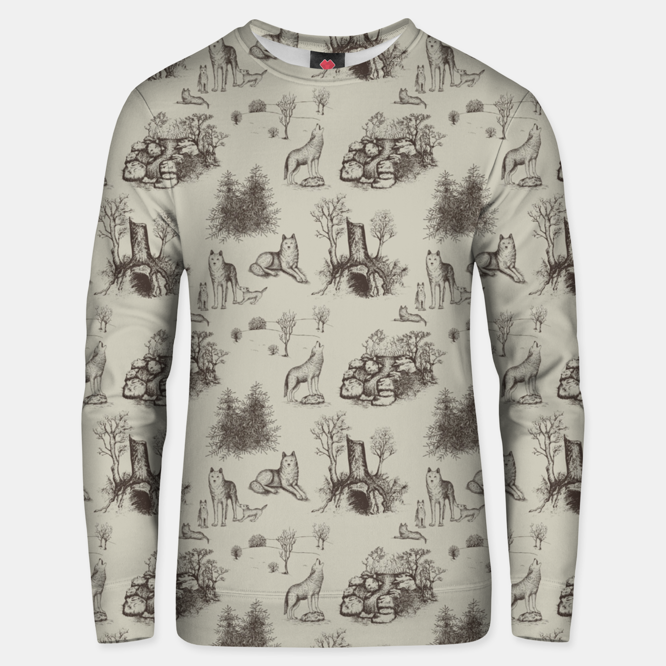 Image of Eurasian Wolf Toile Pattern (Beige and Brown) Unisex sweater - Live Heroes