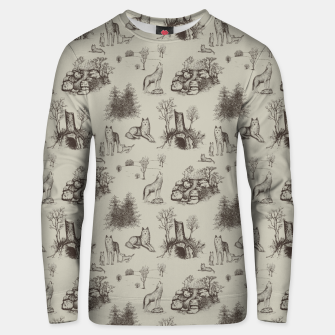 Eurasian Wolf Toile Pattern (Beige and Brown) Unisex sweater thumbnail image