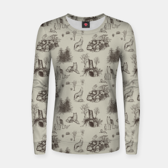 Eurasian Wolf Toile Pattern (Beige and Brown) Women sweater thumbnail image
