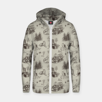 Eurasian Wolf Toile Pattern (Beige and Brown) Zip up hoodie thumbnail image