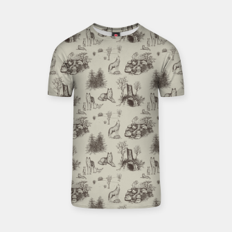 Eurasian Wolf Toile Pattern (Beige and Brown) T-shirt thumbnail image