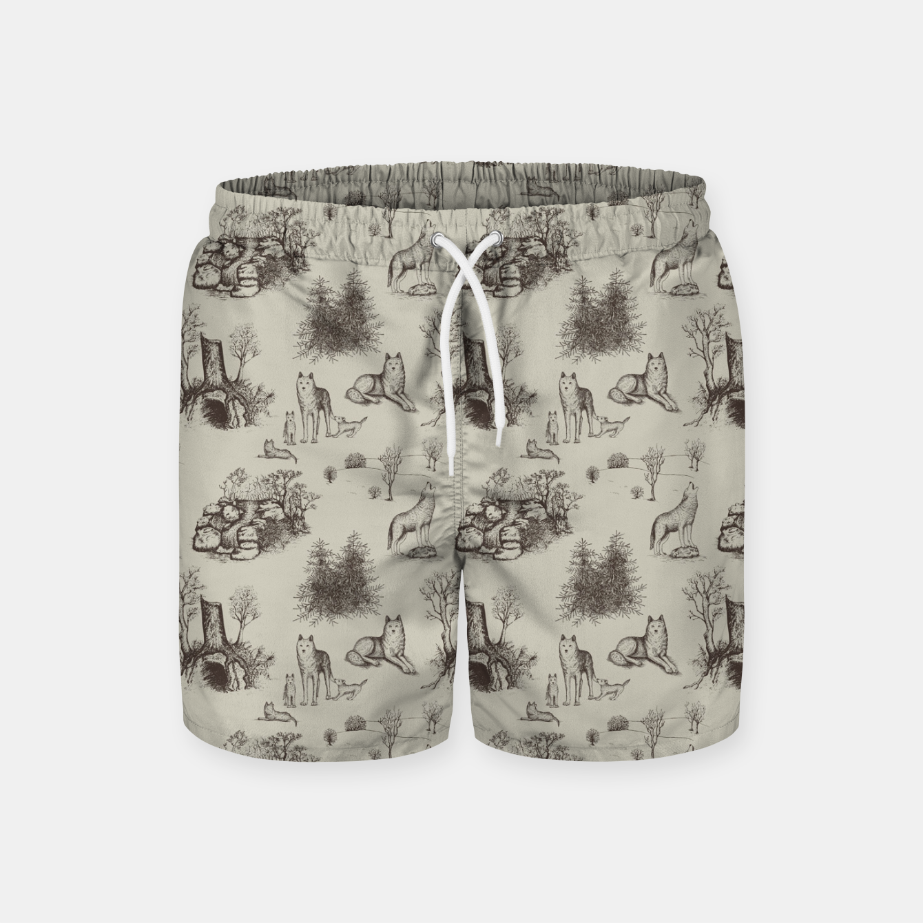 Image of Eurasian Wolf Toile Pattern (Beige and Brown) Swim Shorts - Live Heroes