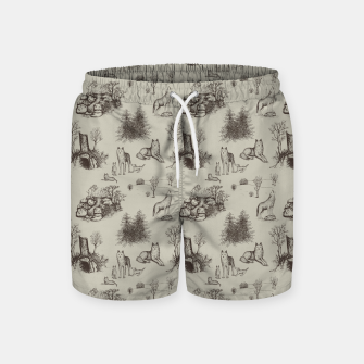 Eurasian Wolf Toile Pattern (Beige and Brown) Swim Shorts thumbnail image