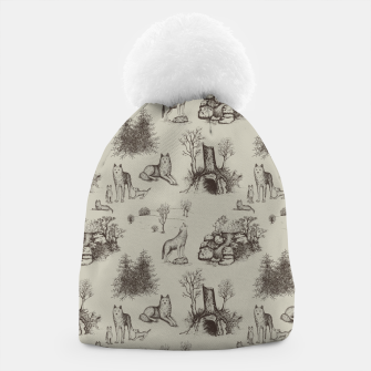 Eurasian Wolf Toile Pattern (Beige and Brown) Beanie thumbnail image