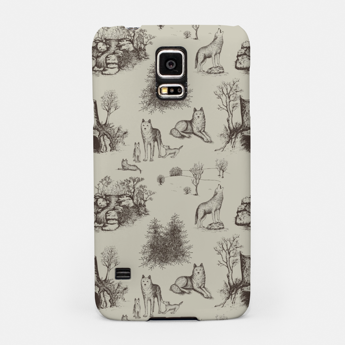 Image of Eurasian Wolf Toile Pattern (Beige and Brown) Samsung Case - Live Heroes