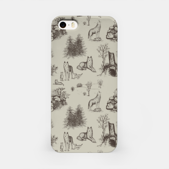 Eurasian Wolf Toile Pattern (Beige and Brown) iPhone Case thumbnail image