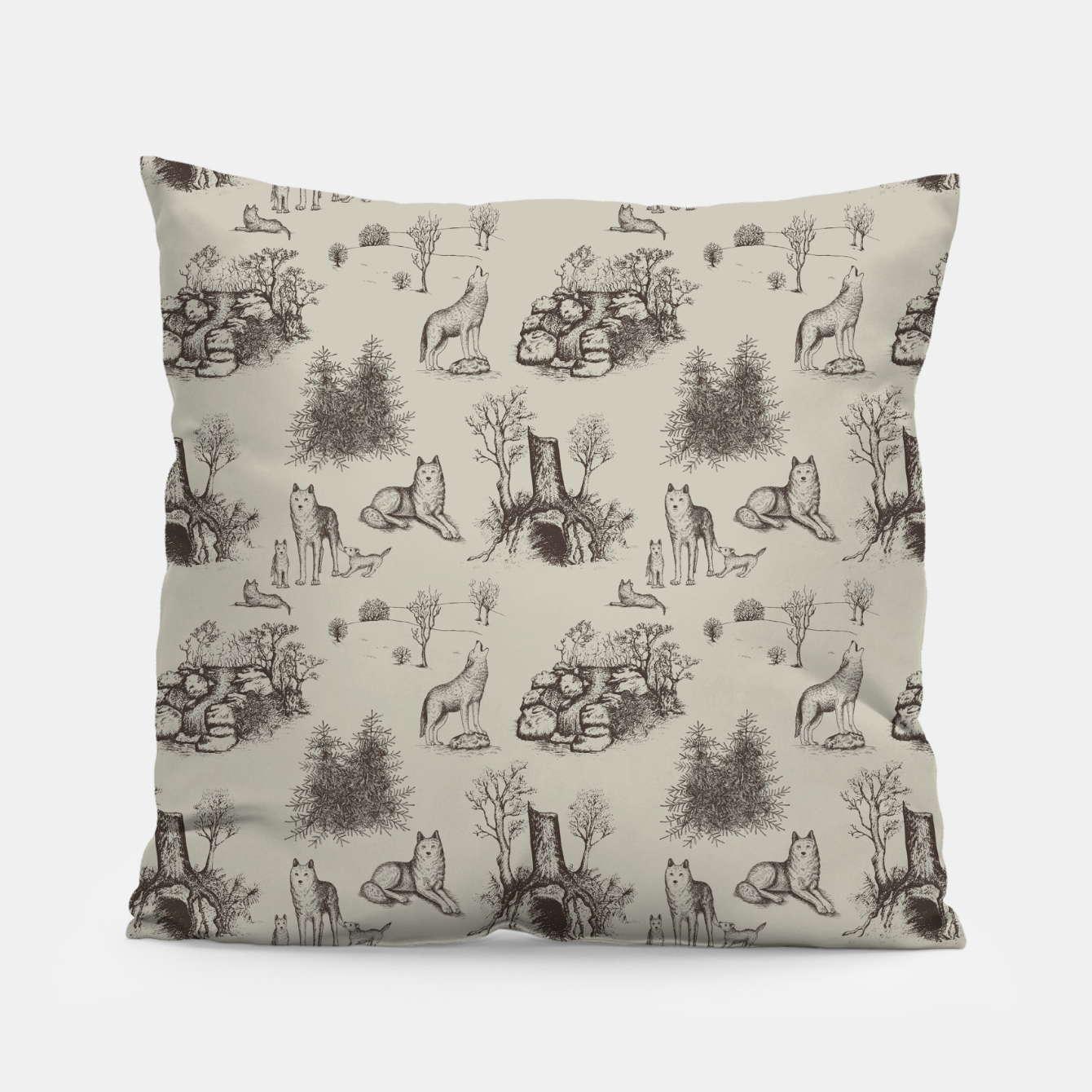 Image of Eurasian Wolf Toile Pattern (Beige and Brown) Pillow - Live Heroes