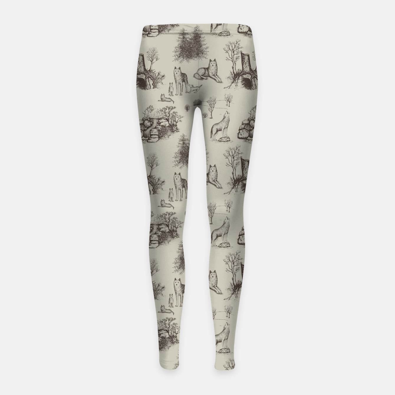 Image of Eurasian Wolf Toile Pattern (Beige and Brown) Girl's leggings - Live Heroes