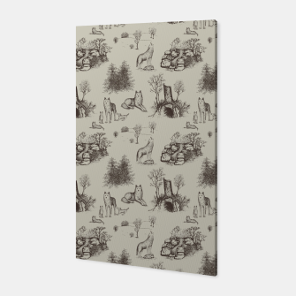Eurasian Wolf Toile Pattern (Beige and Brown) Canvas thumbnail image