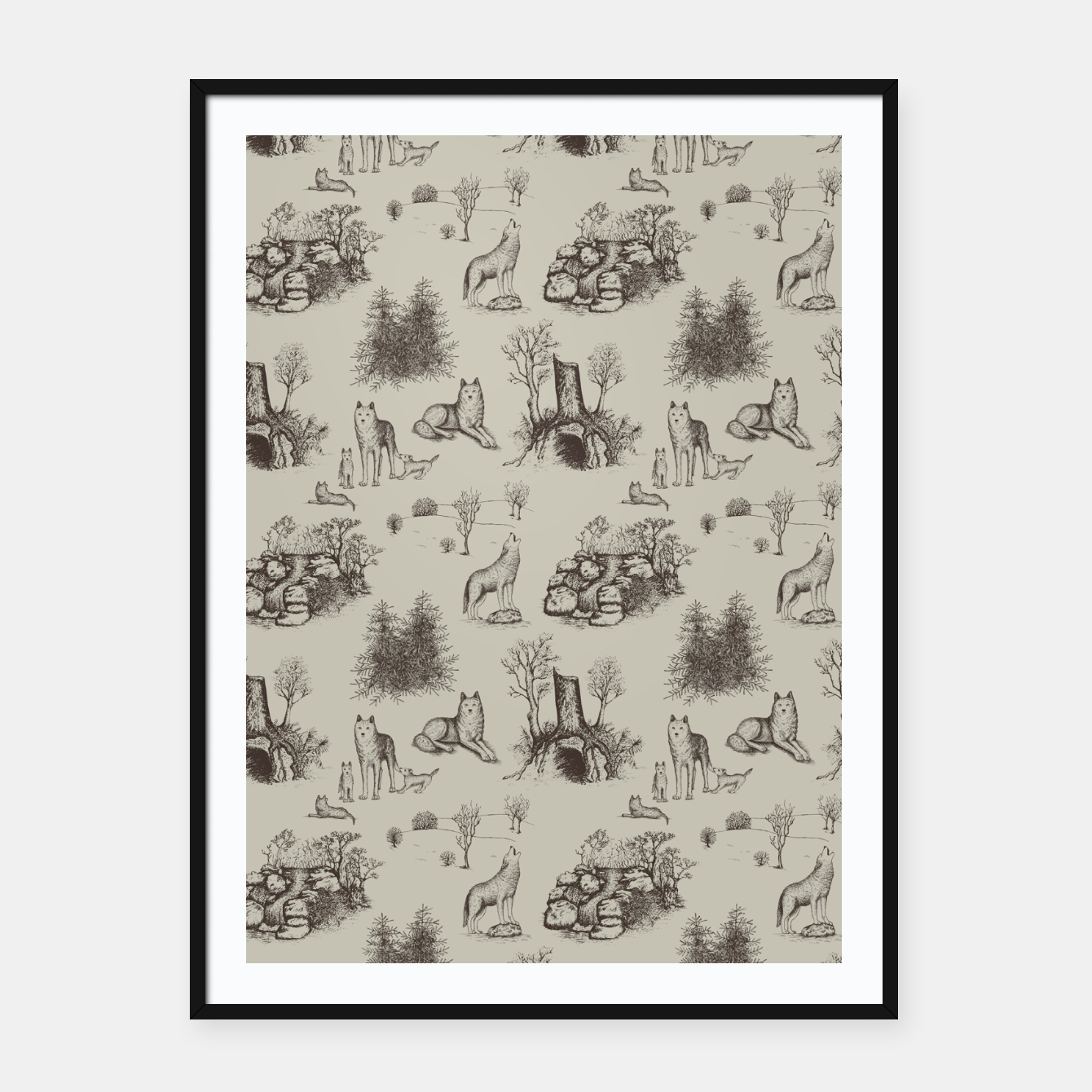 Image of Eurasian Wolf Toile Pattern (Beige and Brown) Framed poster - Live Heroes
