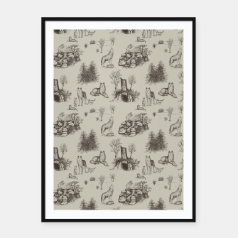 Eurasian Wolf Toile Pattern (Beige and Brown) Framed poster thumbnail image