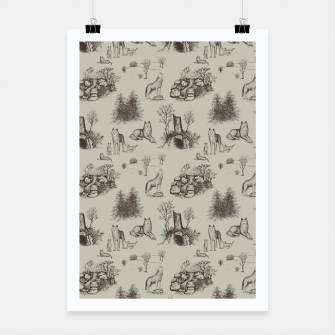 Eurasian Wolf Toile Pattern (Beige and Brown) Poster thumbnail image