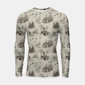 Eurasian Wolf Toile Pattern (Beige and Brown) Longsleeve rashguard  thumbnail image