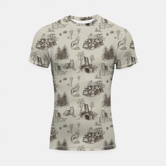 Thumbnail image of Eurasian Wolf Toile Pattern (Beige and Brown) Shortsleeve rashguard, Live Heroes