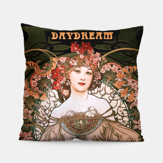 Miniaturka Daydream by Alphonse Mucha Over Black Pillow, Live Heroes