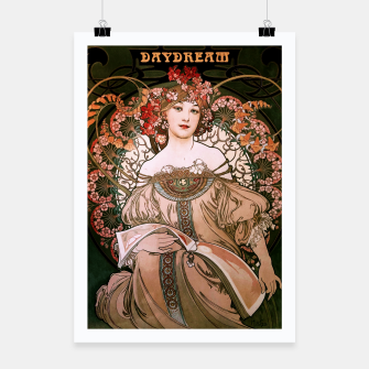 Thumbnail image of Daydream by Alphonse Mucha Over Black Poster, Live Heroes