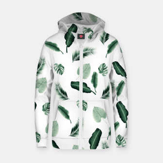 Thumbnail image of Tropical Jungle Leaf Pattern #2 #tropical #decor #art  Reißverschluss kapuzenpullover, Live Heroes