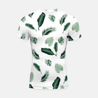 Thumbnail image of Tropical Jungle Leaf Pattern #2 #tropical #decor #art  Shortsleeve rashguard, Live Heroes