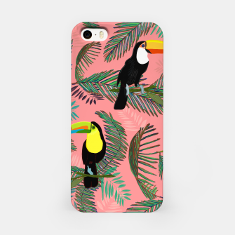 Thumbnail image of Tropical leaves, colorful palm, toucan and humming bird exotic pattern iPhone Case, Live Heroes