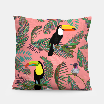 Thumbnail image of Tropical leaves, colorful palm, toucan and humming bird exotic pattern Pillow, Live Heroes