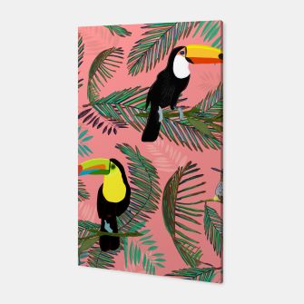 Thumbnail image of Tropical leaves, colorful palm, toucan and humming bird exotic pattern Canvas, Live Heroes