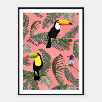 Thumbnail image of Tropical leaves, colorful palm, toucan and humming bird exotic pattern Framed poster, Live Heroes