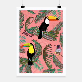 Thumbnail image of Tropical leaves, colorful palm, toucan and humming bird exotic pattern Poster, Live Heroes