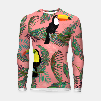 Thumbnail image of Tropical leaves, colorful palm, toucan and humming bird exotic pattern Longsleeve rashguard , Live Heroes