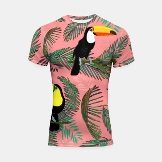 Thumbnail image of Tropical leaves, colorful palm, toucan and humming bird exotic pattern Shortsleeve rashguard, Live Heroes