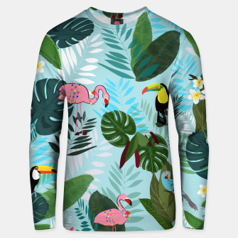 Thumbnail image of Tropical leaves Flamingo, toucan and parrot. Exotic pattern Unisex sweater, Live Heroes