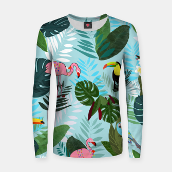 Thumbnail image of Tropical leaves Flamingo, toucan and parrot. Exotic pattern Women sweater, Live Heroes