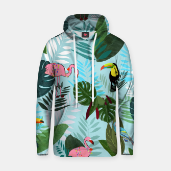 Thumbnail image of Tropical leaves Flamingo, toucan and parrot. Exotic pattern Hoodie, Live Heroes