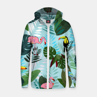 Thumbnail image of Tropical leaves Flamingo, toucan and parrot. Exotic pattern Zip up hoodie, Live Heroes